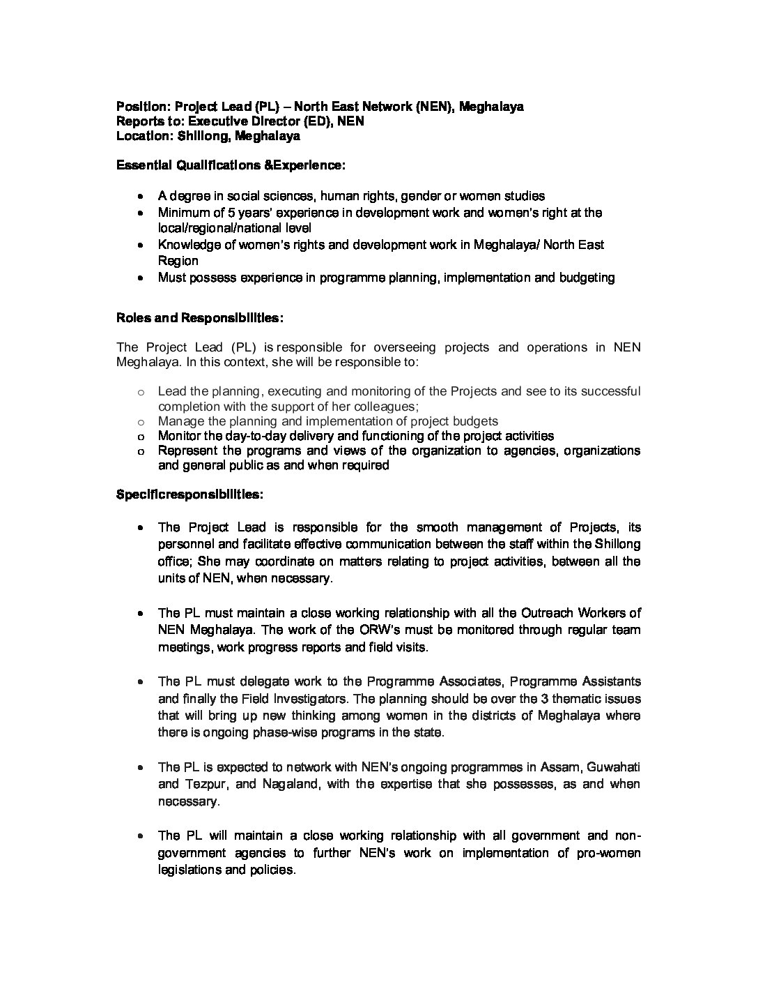 Jobs-in-Shillong-North-East-Network-@Project-Lead-Vacancy